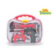 Little Treasures 15 piece pretend and play junior builder tool play set with friction drill and carry case