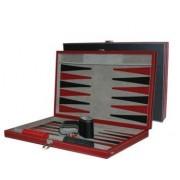 CHH 3042L 18 pulgadas Negro y rojo de cuero de Backgammon Set