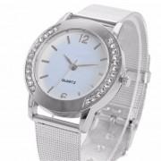 New 2017 Women Simple Classic Rhinestone Wristwatches Fashion Women Crystal Silver Stainless Steel Analog Quartz Wrist Watch
