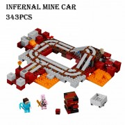 Model building kits compatible with lego 21130 18024 my world MineCraft The Nether Railway Educational toys hobbies for children