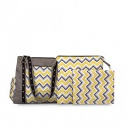 Chele and Maye Chevron Yellow and Grey Nappy Bag