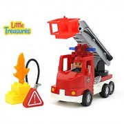 Little Treasures Fire Truck Play Set with Fire Fighter and Toy Fire All Interchangeable Tight Fit Bricks with Duplo