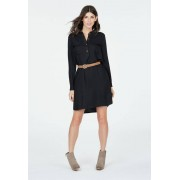 JustFab Knee Length Utility High Low Belted Tee-shirts Dress Femme Couleur Noir Taille S JustFab