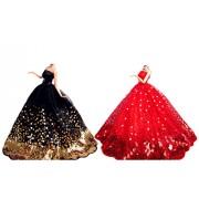OurKosmos® partido de la manera hecha a mano magnífico vestido Vestidos y Ropa de boda accesorios de la muñeca de la muñeca de -2 piezas (Negro y Rojo)