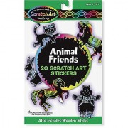 Melissa & Doug Scratch Art Sticker Kit - Animal Friends 20 Color-Reveal Stickers