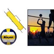 Premium - Zestaw do siatkówki i badmintona (siatki + słupki + linie taśmowe + piłka)