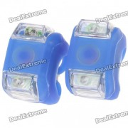 2-LED 3-Mode Blue Light Silicone Bicycle Safety Lights (2 x CR2032/Pair)