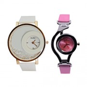 CREATOR Half Moon Stones Inserted White Dial And Nolion Time Concept Watch Combo For Women And Girls