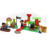 Little Treasures Pirates Building Block Play Set Series with 48 Pieces Including Pirates Boats and Treasure This Tight