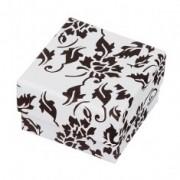 Fekete-fehér díszdoboz fülbevalónak, virág motívumokkal