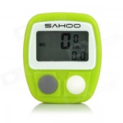 """SAHOO Water Resistant 1.3"""" LCD 14-Function Wired Bicycle Stopwatch - Green (1 x LR44)"""