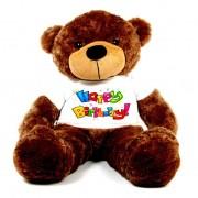 Brown 5 feet Big Teddy Bear wearing a colorful Happy Birthday T-shirt