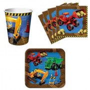 Trucks Under Construction Birthday Party Supplies Set Plates Napkins Cups Kit for 16