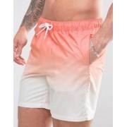 ASOS Swim Short In Orange Dip Dye In Mid Length - Orange
