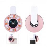 Clip telefono inteligente LED anillo auxiliar Luz de relleno w / lente macro gran angular