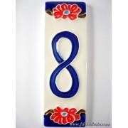 Numero civico ceramica con fiore nf8