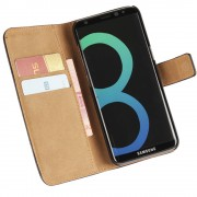 Black Genuine Leather Business Wallet Smart Case For Samsung Galaxy S8 Plus