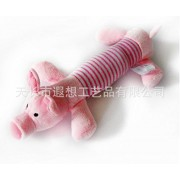 Junsi QR New Pet Puppy Chew Squeaker Squeaky Plush Sound Gray Striped Elephant Toy Juguete