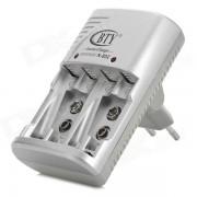 BTY N-802 AA / AAA / Ni-MH 6F22 / Ni-Cd Cargador de bateria - gris + plata