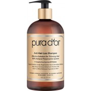 PURA D'OR Anti-Hair Loss Premium Organic Argan Oil Shampoo (Gold Label), Effective Solution for Hair Thinning & Breakage, 16 Fluid Ounce (Packaging May Vary)