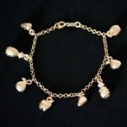 Semi Bracelet Jewelry Gold Plated Fruits 18cm