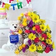 Special Basket of Flowers N Teddy Flower Gift 106