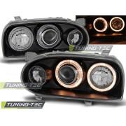 Přední světla, lampy Angel Eyes VW Golf III 91-97 černá