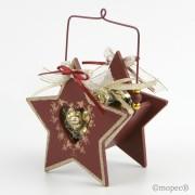 Cestita madera en forma estrella con chocolates