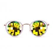 Glo Fx White Ivory Vintage Metal Kaleidoscope Glasses Rainbow Bug Eye Flat Back