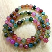 Beading Station BSI Mix Strand of 65-Piece Dyed Colors Agate Gemstone Round Beads 6mm Rainbow