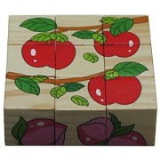 iPuzzle Fruits Wood Cube Puzzle 6 Puzzles in 1 for Toddlers Kids
