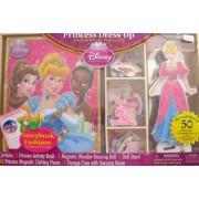 Disney PRINCESS CINDERELLA 50 Piece Dress Up MAGNETIC WOODEN DOLL & Book Set w Dressing Room & Stora