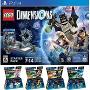 VendorasBox LEGO Dimensions Starter Pack for PlayStation 4 PLUS LEGO Movie Bundle with Emmet 71212, Bad Cop 71213, Benny 71214, and UniKitty 71231