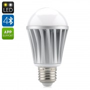 Ampoule LED 7W E27 RGBW Bluetooth - 550 lumens / Application pour iOS + Android / LED Epistar / Angle 120 degres