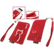 Animob A01-267RD hímzett plüss mobiltelefon tok 70 x 12 x 125mm - piros
