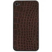 Genuine ZAGG Leather Skin for Apple Iphone 4/4S Alligator Brown.