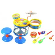 Deluxe Jazz Band Childrens Musical Instrument Toy Drum Play Set W/ 2 Drums, Cymbal, Toy Tambourine, Maracas, Trumpet, Flute, Rattle Drum (Yellow)