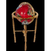 Unique Art 36-Inch by 13-Inch Floor Standing Red Lapis Ocean Gemstone World Globe with Gold 4-Leg Stand