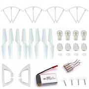 LHI Quadcopter Spare Parts Crash Pack Kit Replacement, Main Blade Propellers & Motor & Propeller Protectors Blades Frame & Landing Skid & Battery & Main Gears Set & Motor Base for MJX X400 X400W