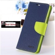 First 4 Flip Cover Mercury Dairy Wallet Case For Lenovo S650 (Blue & Green)