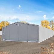 Intent24 Tente de stockage 8x24m - hauteur de côté de 4m, porte 6x4,25m, toile PVC de 550 g/m², gris