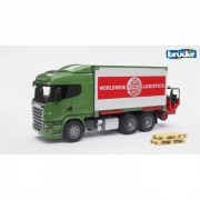 Bruder camion portacontainer con muletto scania r-series 3580