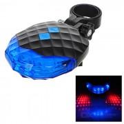 5-LED de la cola 7-Mode azul + 2-laser de seguridad Bici roja luz de la lampara - Azul