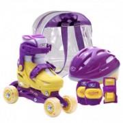 Set role reglabile pentru copii cu pozitionarea multipla a rotilor - Mov