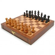 Inlaid Walnut-Style Magnetized Wood Chess Set with Staunton Wood Chessmen by Trademark Games