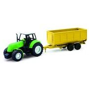 NEWRAY 05687 - Farm Tractor Scala 1:32 Trattore Verde con Rimorchio, Scala 1:32