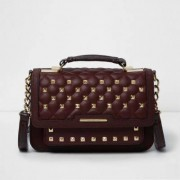 River Island Womens Dark Red quilted studded mini satchel bag