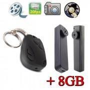 Chaveiro Espião + Botão Espião 4GB + Cartão 8GB