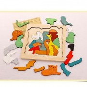 Magideal Wooden Multilayer Jigsaw Cartoon Educational Toy For Kid African Animal Home