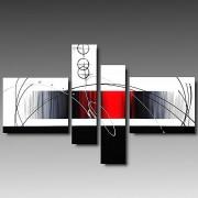 4 Quadri Astratti Rouge Dipinti a Mano Acrilico